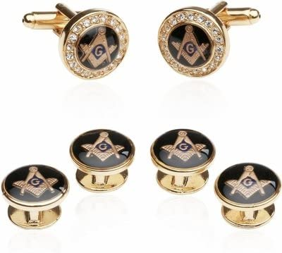 Crystal Gold Max 40% OFF Cufflinks Masonic Links Cuff Formal Set Outlet ☆ Free Shipping