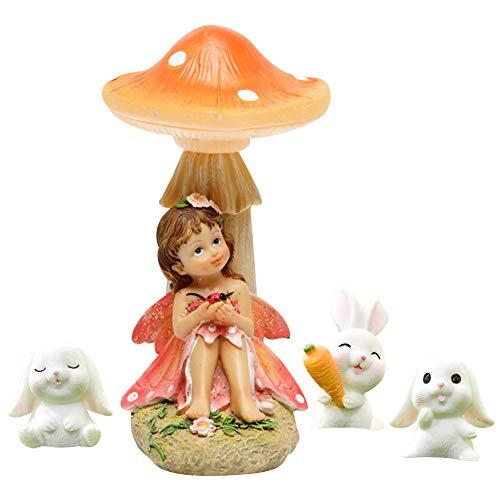 FYHappy - Decorazione da giardino per esterni, piccola fata seduto sotto i funghi con piccoli conigli bianchi, accessori da giardino per decorazioni da giardino, in miniatura, statuette