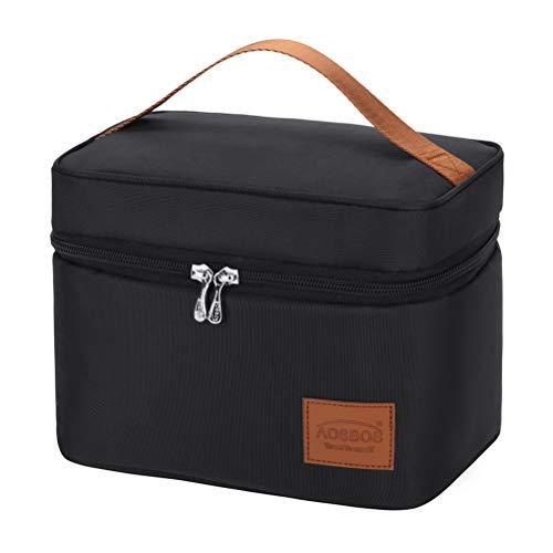 Kühltasche Klein Leicht Lunch Tasche Isoliertasche zur Arbeit Schule Faltbar Wasserdicht Reißverschluss 6,5L (C-Schwarz)