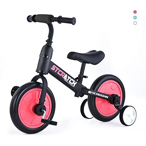 ZavoFly Balance bike da 12 '' per bambini da 2, 3, 4, 5 anni, bambina, bicicletta da passeggio per bambini 4 in 1 con ruote e pedali da allenamento, montaggio facile (JL101, rosso)