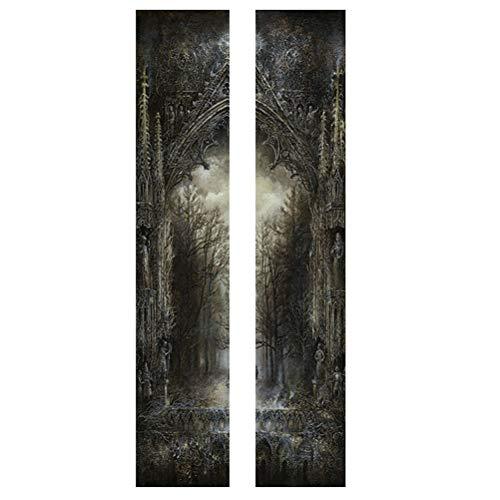 Adesivo de porta de floresta escura de 2 peças de Halloween Decalque de porta assustador sombrio decalque criativo