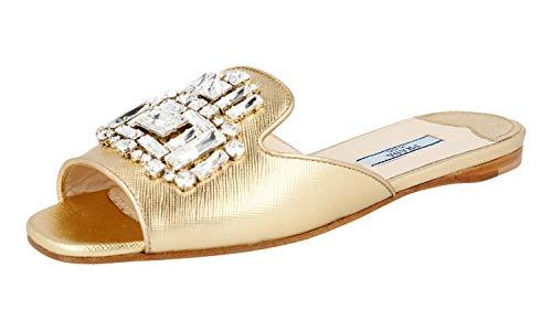 Prada Women's 1XX148 Gold Saffiano Leather Sandals US 7 / EU 37