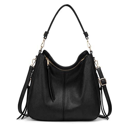 Realer Handbag Women's Shopper Bag Tote Leather Shoulder Bag Large Shoulder Bag Woman Elegant Handbag with Removable Handle Black