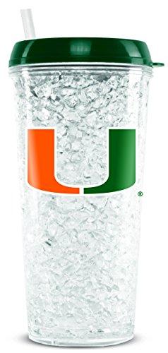 NCAA Miami Hurricanes Kristall-Gefrierschrank-Becher mit Deckel und Strohhalm, 473 ml