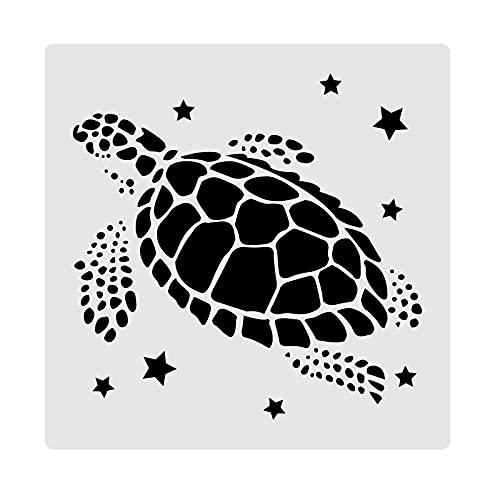 BENECREAT Plantillas de Plástico para Pintura 30x30cm Diseño de Tortuga Marina Panel de Plástico para Pintura Artística en Madera, Álbumes de Recortes y Decoración de Pisos de Pared