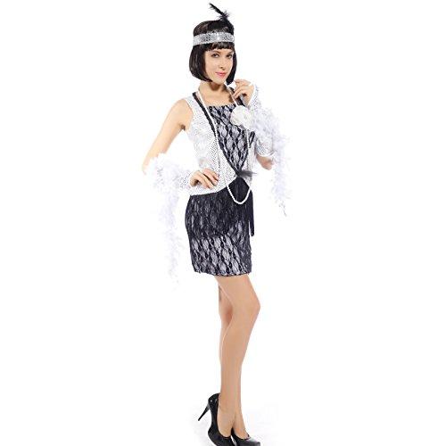 maboobie Sexy Robe a Franges en Sequin 1920s 30s Flapper Dress Argente pour Carnaval Soiree Deguisee