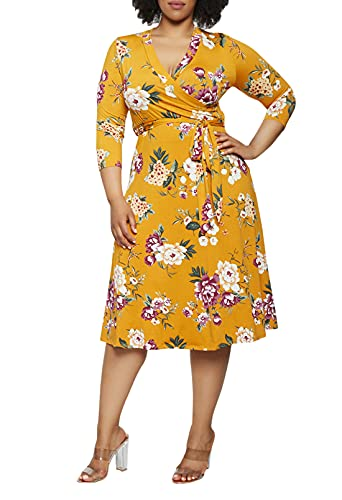 Pink Queen Womens Plus Size Dresses Casual Floral 3/4 Sleeve Wrap Dress Boho Party 2XL Yellow