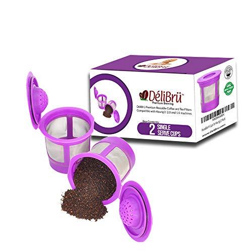 Reusable K Cups for Keurig 2.0 & 1.0 2PACK Coffee Makers. Universal Refillable KCups, Keurig filter, Reusable kcup, k cup k-cups reusable filter by Delibru (2 Pack)