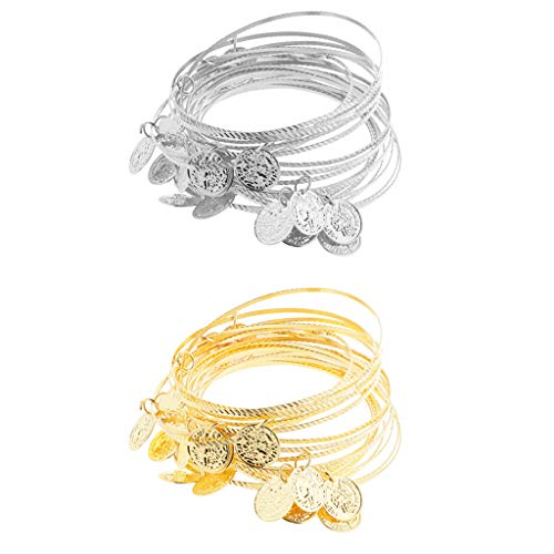 Hellery 40 Bauchtanz Armband Armreifen Armbänder mit Münzen Perlen Kostüme Karneval für Bauchtanz, Indischen Tanz