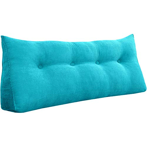 VERCART Rückenlehne Nackenrolle Keilkissen Rückenkissen Bett Sofa Dekorative Groß Kopfteil Lesekissen Cord Azurblau 120cm