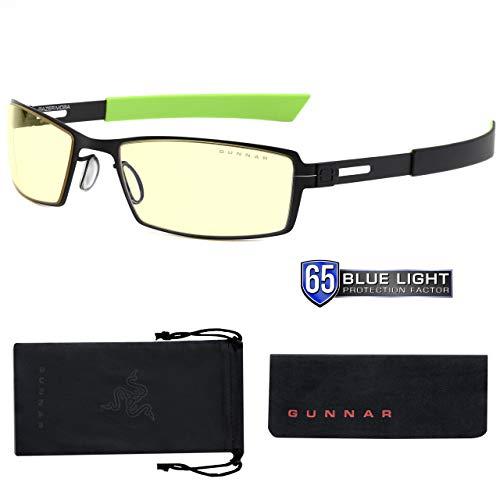 GUNNAR - Gaming Glasses for Kids (age 12+) - Blocks 65% Blue Light - MOBA Razer Edition, Onyx, Amber Tint