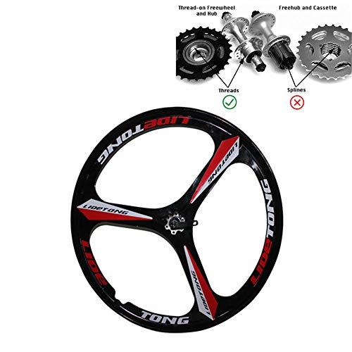 JARONOON Llantas de Bicicleta de montaña de 26 Pulgadas Llantas de Bicicleta de aleación de magnesio de 3 radios aptas para Rosca Rueda Libre (Negro Rojo, 26 Pulgadas)