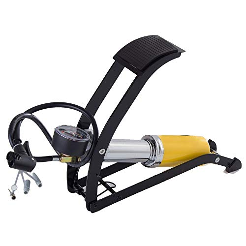Yzibei Draagbare luchtpomp, fietspomp, enkele kolf, fietsvoetpomp, 150 psi, aluminium behuizing met nauwkeurige manometer, slimme ventielkop voor Presta Schrader-ventiel