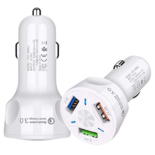 USB Car Charger[2-Pack],Input 12v-32v,Output 35W/7A,3-Port Rapid Car Charger Compatible with iPhone 12/11 Pro Max/Xs/Xs max/Xr/X/8/7,iPad,Galaxy Note S10/S9/S8 and More