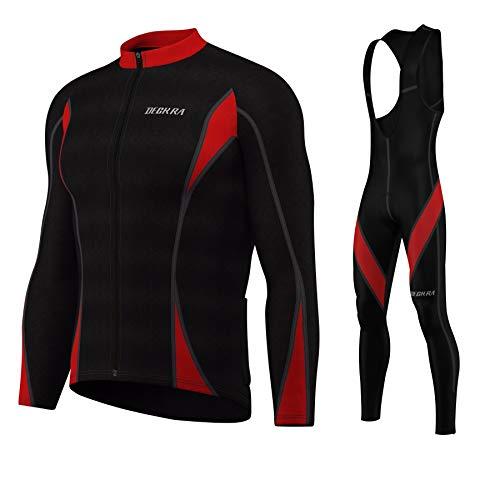 Mens Cycling Bib Tight+Jersey Set Thermal Super Roubaix Bicycling Tights Black/Red