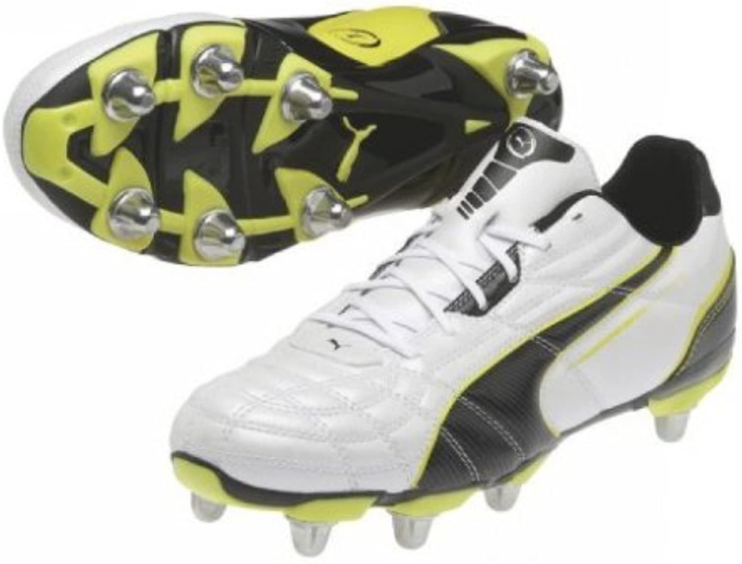 Puma King Universal H8 Low Cut Soft Ground Rugby Boots White Black Blazing Yellow