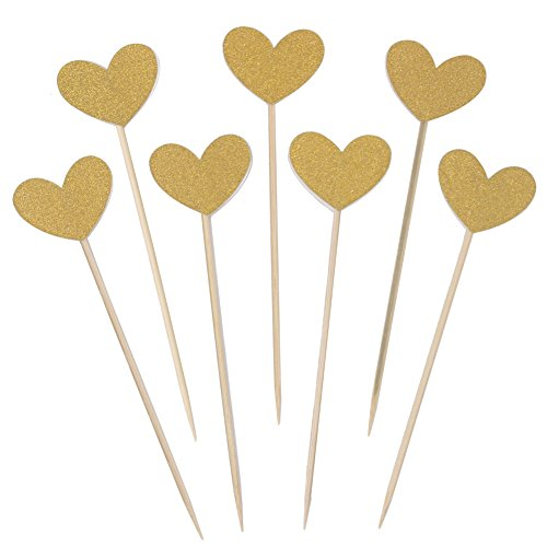 Zicome 50 Pack Double Sided Gold Glitter Cupcake Toppers Attached with Sticks for Baby Bridal Shower Birthday Party and Wedding (Heart)