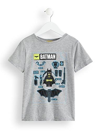 RED WAGON Jungen Lego Batman T-Shirt, Grau (Grey Marl 001), 134 (Herstellergröße: 9 Jahre)