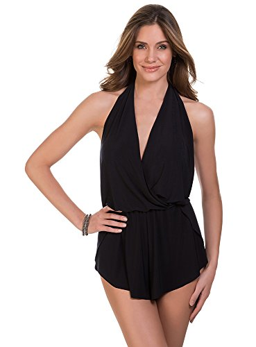 Magicsuit Women's Swimwear Solid Bianca V-Neck Flowy One Piece Romper Style Swimsuit with Soft Cup Bra and Halter Straps, Black, 10