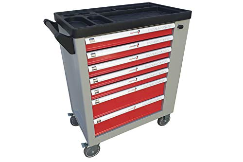 PAULIMOT Werkstattwagen pulverbeschichtet, 5 Schubladen mit Werkzeug bestückt