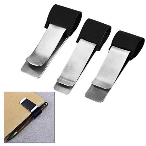 Xrten 3 Formati Portapenne Loop Clip Penna Portapenne Loop Pen Loop Clip in Inox per Riviste, Libro, Taccuini Nero