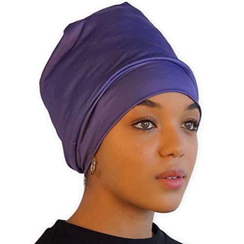 Olivia Sylx Sleep Caps for Women - Satin Lined & Silk Feel Sleeping Bonnet Hat - Natural Curly Hair Cover & Night Slap Cap Purple