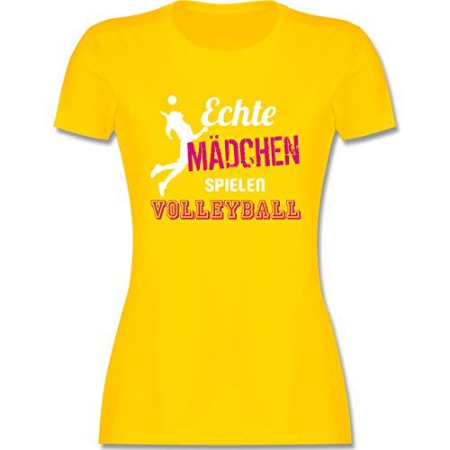 Volleyball - Echte Mädchen Spielen Volleyball - XXL - Gelb - Tshirt Volleyball Damen - L191 - Tailliertes Tshirt für Damen und Frauen T-Shirt
