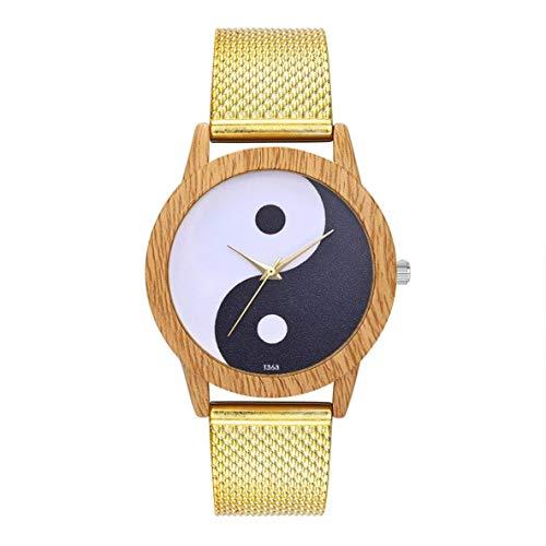 CHOUCHOU Colgante Pendientes Cuarzo con Encanto Moda Casual de Las señoras del Reloj Redondo Grande Reloj de Pulsera Accesorios de la joyería DecorationT363-F, Color: Oro (Color : Gold)