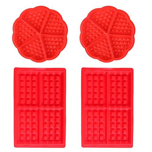 Miotlsy Waffeln Formkuchenform 4 PCS Silikon Backform Kuchenform Eiswürfelform Schokoladen Süßigkeiten Formen Rot Herz und Rechteckige