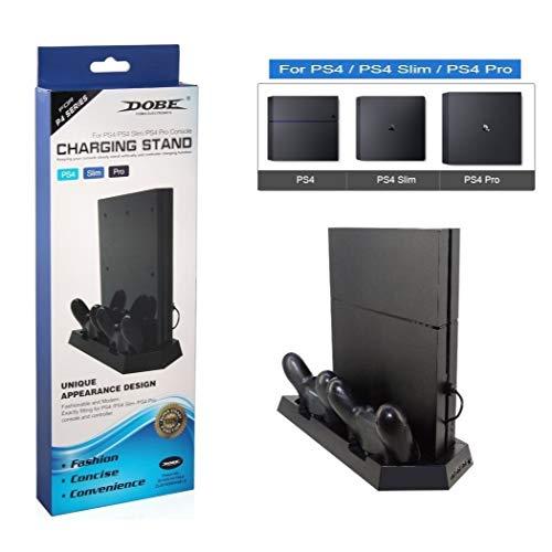 Base Suporte Vertical Para Ps4 Séries Ps4 / Slim/ Pro + Cooler + Hub Usb + Carregador de Controle Dobe Tp4-023B