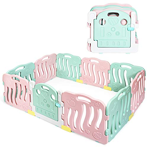 INFANS Baby Playpen, Kids Safety Activity Center Playard w/Non-Slip Foot Mats & Card Buckles, Safety Lock, HDPE, Adjustable Shape for Indoor Outdoor, Infant & Toddler Fence
