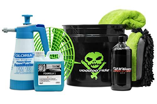detailmate Juego de lavado para coche Voodoo Ride: Bucket 12L Made by GritGuard & Schmutzeinsatz 3 en 1 - Liquid Elements Auto Shampoo - ValetPRO: Snow Foam, Dry Foam, Gloria Foam Maser FM10