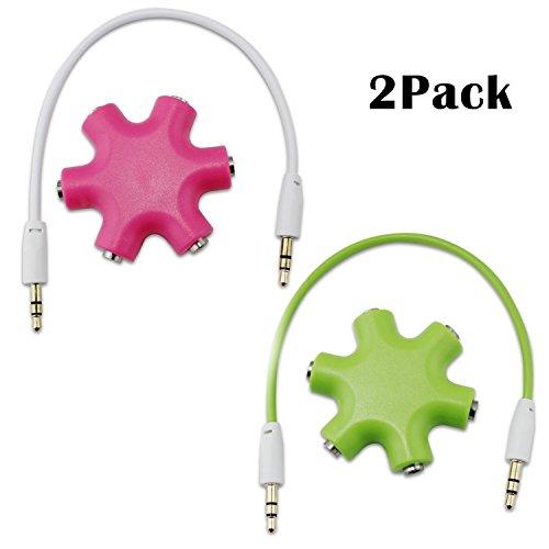 aussel Lot de 2 3.5 mm Casque câble d'extension audio Splitter adaptateur 1 mâle vers 2 3 4 5 femelle audio casque rose et vert