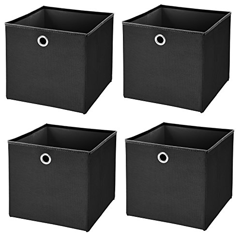 StickandShine 4er Set Schwarz Faltbox 28 x 28 x 28 cm Aufbewahrungsbox faltbar
