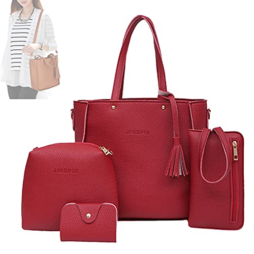 Handbag Set for Women, Handmade 9 Color Fashion Tote Shoulder Bags Top Satchel Purses Card Holder Crossbody Synthetic Leather Bags (Red)