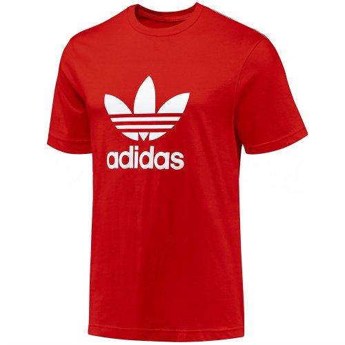 Adidas Originals Trefoil - Camiseta de manga corta para hombre, color rojo