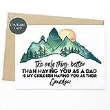 DKISEE Tarjeta del día del padre para papá, tarjeta sentimental para papá, la única cosa mejor que tener usted como a papá es mi hijo que tiene usted como su abuelo 17 x 25 cm