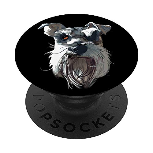 Salt and Pepper Miniature Schnauzer - Black Background PopSockets PopGrip: Swappable Grip for Phones & Tablets