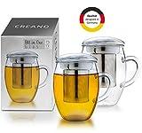 Creano Teeglas All in one 400ml 2er Set, Große Teetasse mit Edelstahlsieb und Deckel aus Glas,...