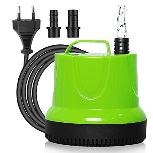 Maxesla Mini Tauchpumpe - 350L/H 6W Submersible Pumpe Wasserpumpe Unterwasser mit 2 Düsen für Teiche, Fisch Behälter, Aquarium, Garten, Brunnen, Aquariumpumpe 4.3ft (1.3M) Netzkabel