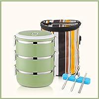 積み重ね可能なステンレススチールランチボックスとランチバッグ,大人のための食器が付いている漏れ防止食品貯蔵容器 オフィス-f 19.5x14.5cm(8x6inch)