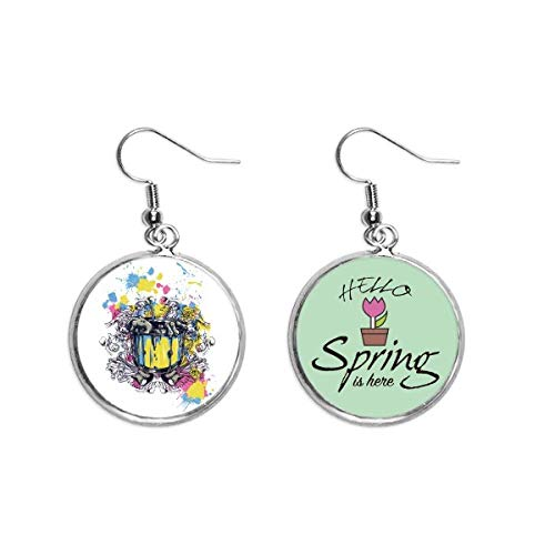 Graffiti Street Barrel Guitar Hands Pattern Decoration Dangle Season Spring Earring Jewelry