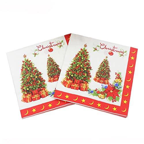 Froiny 20 Pcs/Pack Napkins Navidades Papel Impreso Servilleta Desechable Tailware Accesorios
