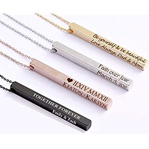 ProJewelry Personalized Vertical Bar Necklace, 4 Sides Dainty Custom Engraved Name Necklace 925 Sterling Silver…
