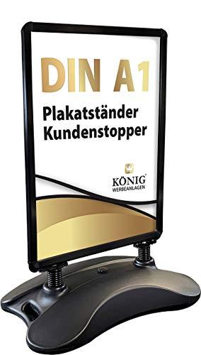 Plakatständer Keitum Wind Line DIN A1 schwarz | beidseitig für 2 Plakate | stabiler Fuß für sicheren Stand bei Wind und Wetter | entspiegelte Schutzscheiben | Kundenstopper Gehwegaufsteller | Dreifke®
