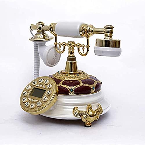 Clásico europeo retro teléfono fijo teléfono antiguo estilo europeo teléfono vintage teléfono grande botón grande retro escritorio teléfono decoración para la oficina de la familia a ( Color : A )