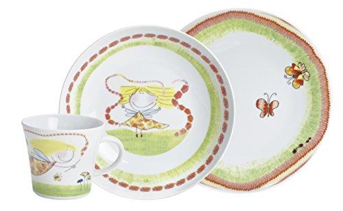 Kahla 32D200A76646C Kids Blumenfee Porzellan Kindergeschirr-Set Geschirr-Set für Mädchen bunt rund 3 teilig Set Tasse Suppenteller Teller