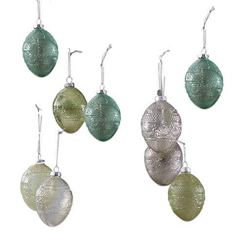 Loberon Osterei 9er Set Semora, Osterdeko, Glas/Aluminium, H/B/T/Ø ca. 8/6 / 6/6 cm, grün