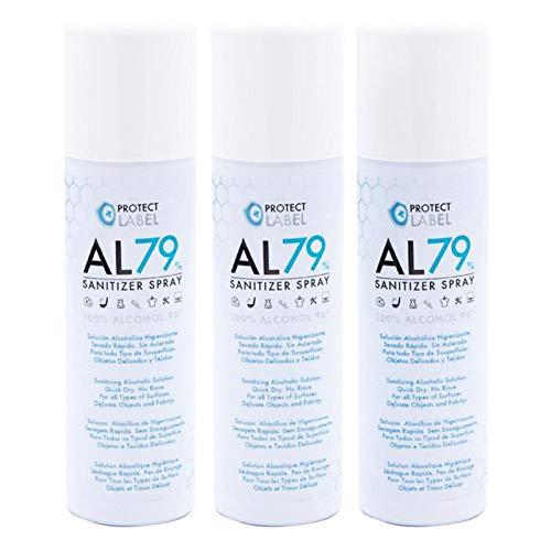 Hidroalcohol Spray 3 x 500ml. Higienizante manos y superficies 79% Alcohol Aerosol Hidroalcohólico