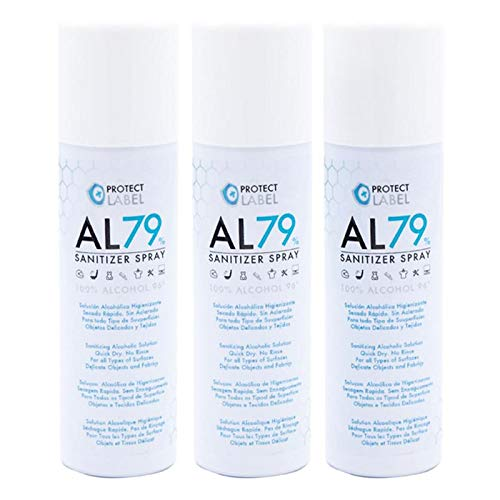 Protect Label Hidroalcohol Spray 3 X 500Ml Higienizante Manos y Superficies 79% Alcohol Aerosol Hidroalcohólico 1500 ml